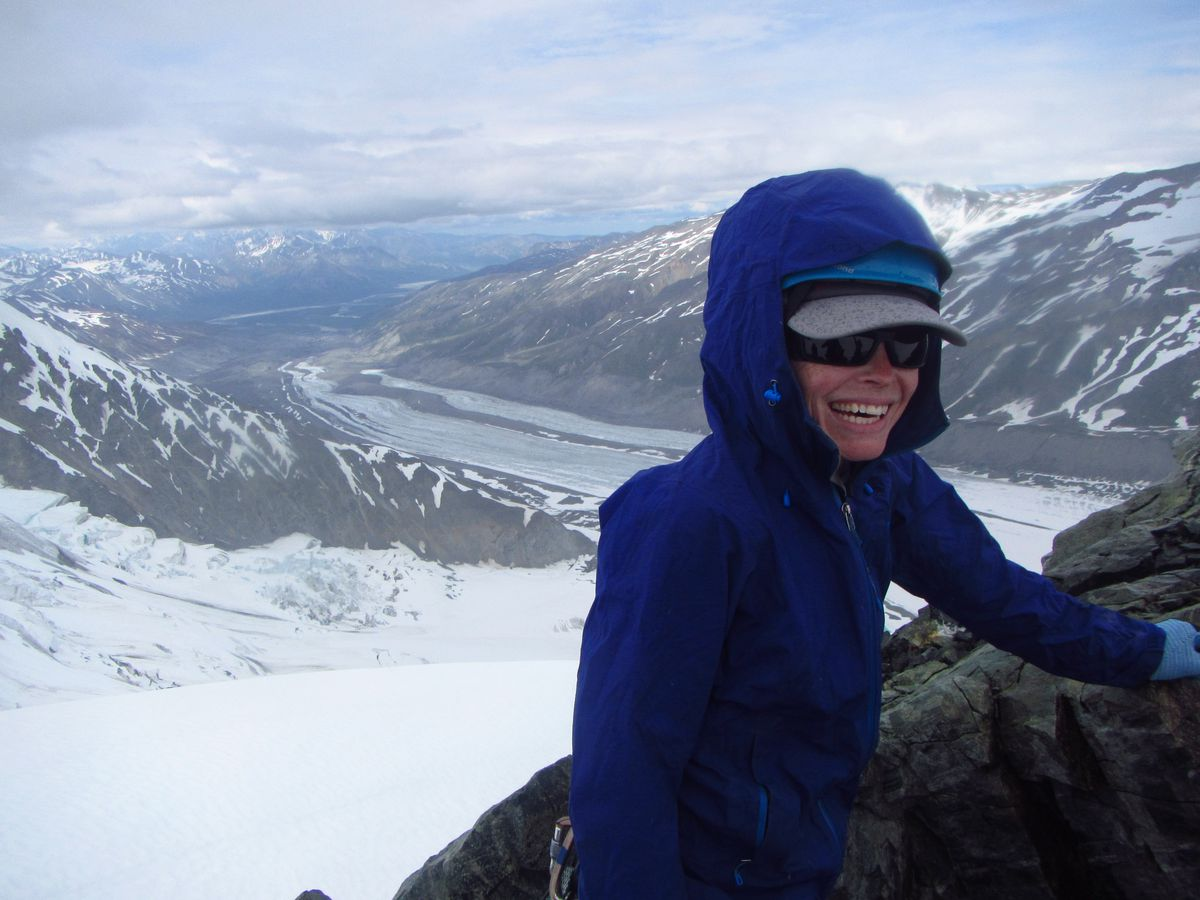 Joanna Young on a divide overlooking the Canwell Glacier in central Alaska. (Courtesy Joanna Young)