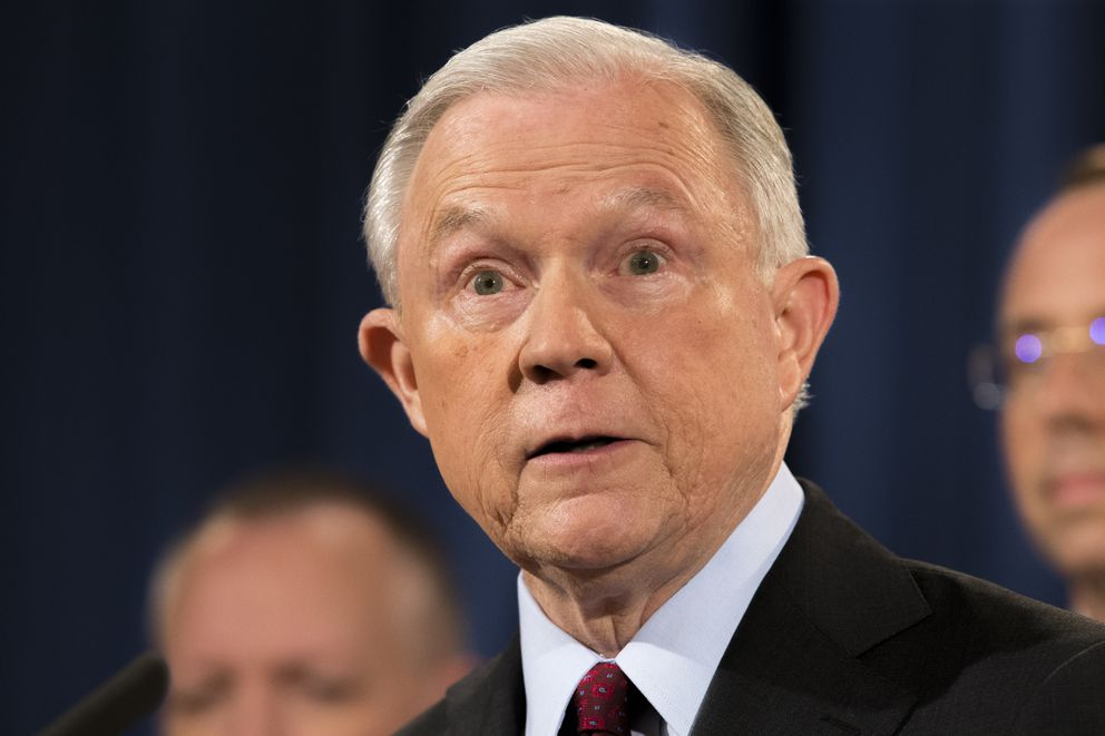 Attorney General Jeff Sessions gives a statement at the Department of Justice in Washington, July 20, 2017. Sessions deflected questions on Thursday about whether he can continue to serve in his post after President Donald Trump expressed a lack of confidence in Sessions for recusing himself from the Russia investigation. Sessions said he loves his job and will continue to serve Òas long as that is appropriate.Ó (Tom Brenner/The New York Times)