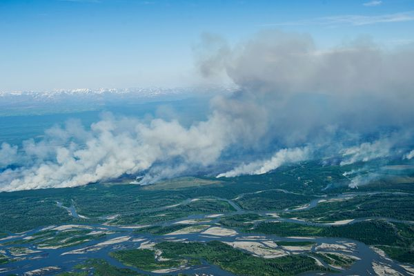 The Sockeye Fire continued to burn near Willow, Alaska, on Monday, June 15, 2015.