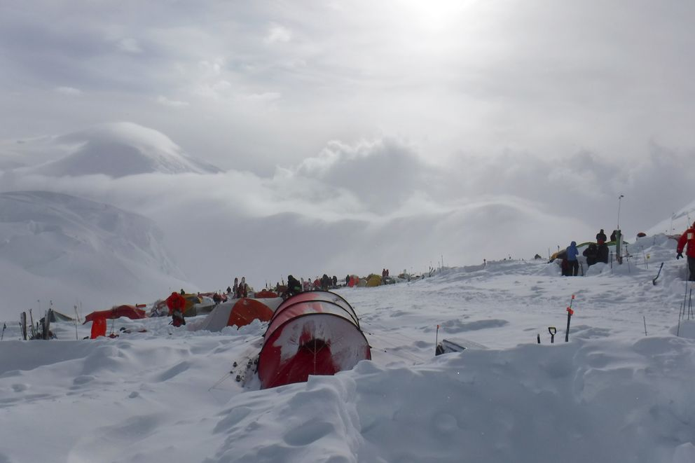 Camp at 11,000 feet on Denali, 2018.  (Photo by Canyon Tobin)