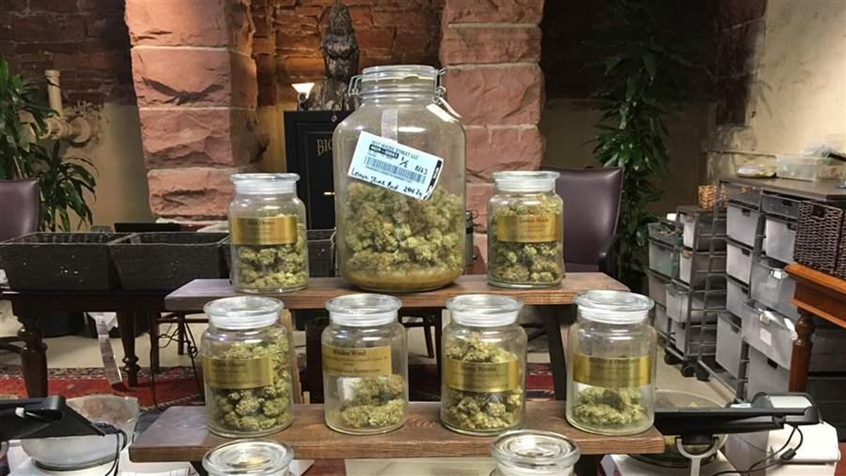 A variety of marijuana strains on display at a Denver dispensary. Despite its commercial availability in eight states, homegrown marijuana is thriving. Three states are limiting how many plants home growers can cultivate. (Christine Vestal/The Pew Charitable Trusts)