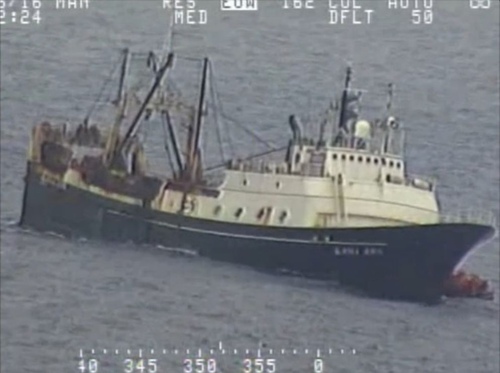 The fishing vessel Alaska Juris, abandoned by its crew of 46 in the Bering Sea when it took on water Tuesday, July 26, 2016, remained afloat as plans were made for a possible recovery. (Screen grab from U.S. Coast Guard video by Petty Officer 1st Class Kelly Parker)