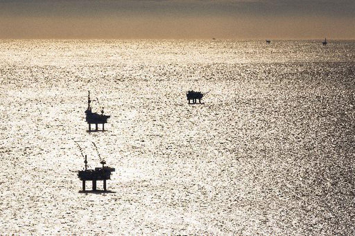 Offshore oil platforms in Cook Inlet. (LOREN HOLMES / ADN archive 2012)