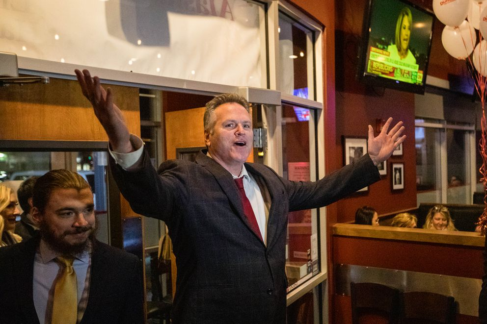 Mike Dunleavy greets the crowd at a Republican Party celebration on election night, Tuesday, Nov. 6, 2018 at the Anchorage Alehouse. (Loren Holmes / ADN)