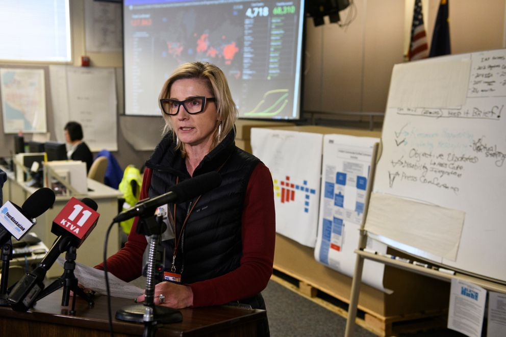 Anchorage School District Superintendent Deena Bishop speaks with reporters at the Anchorage Emergency Operations Center on March 12. Schools statewide will be closed to students through April. (Marc Lester / ADN)