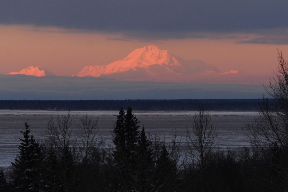 The sun sets on Denali on Wednesday afternoon, Dec. 28, 2016, in a view from Kincaid Park. (Erik Hill / Alaska Dispatch News)