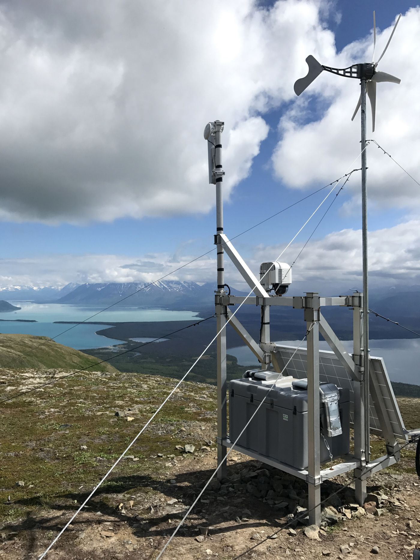 One Explore.org camera in Katmai National Park and Preserve overlooks Dumpling Mountain. Cameras are powered with solar generators and kept in self-cleaning housings. (Courtesy of Explore.org)