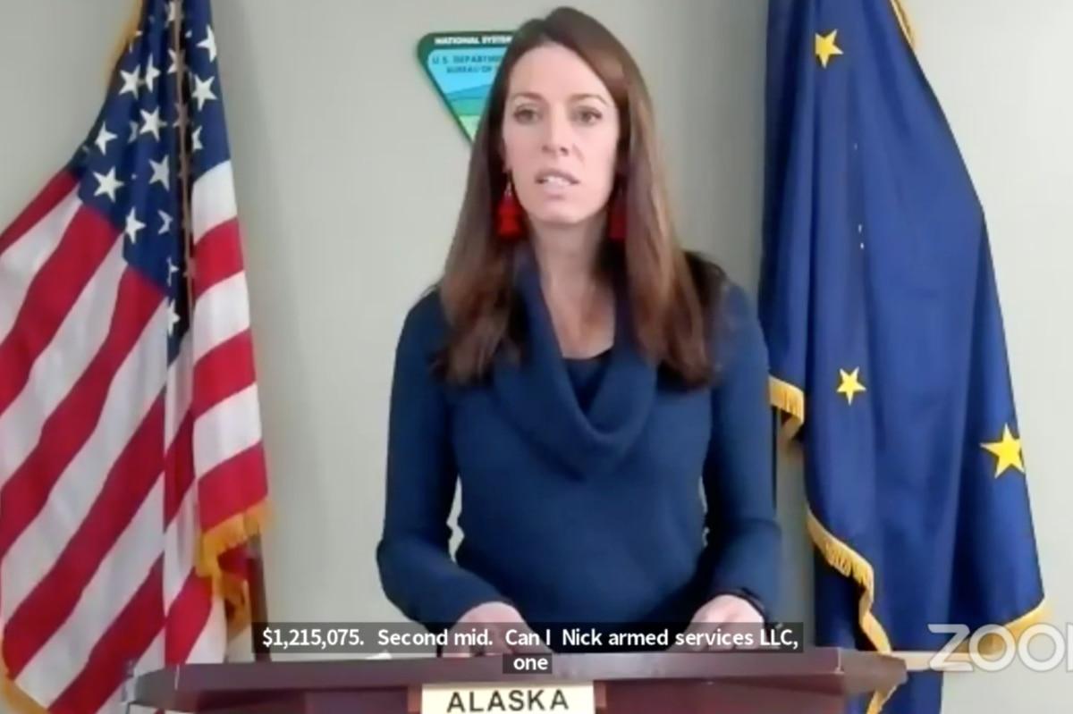 Katharine MacGregor, deputy secretary of the U.S. Department of the Interior, announces winning bids at the ANWR coastal plain lease sale on Jan. 6, 2021. (Screenshot)