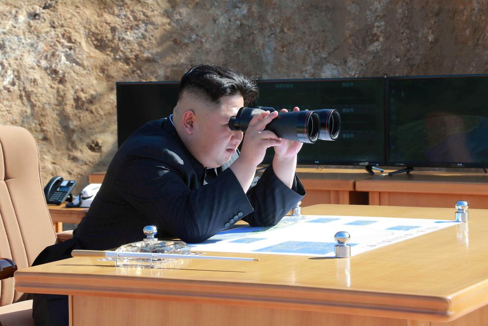 North Korean Leader Kim Jong Un looks on during the test-fire of intercontinental ballistic missile Hwasong-14 in this undated photo released by North Korea's Korean Central News Agency in Pyongyang, July 4, 2017. KCNA/via REUTERS