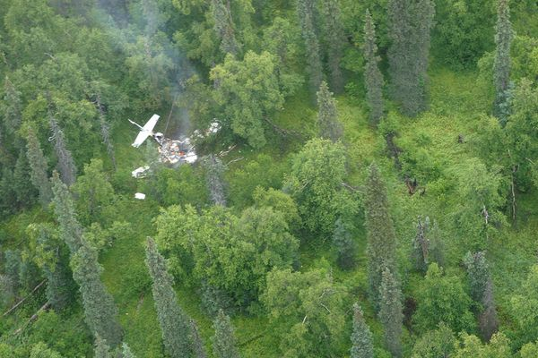 The pilot of a Cessna 206 died Thursday, July 27, 2017, when the plane crashed in the vast Lake Clark National Park and Preserve. (Courtesy Lake Clark National Park and Preserve)