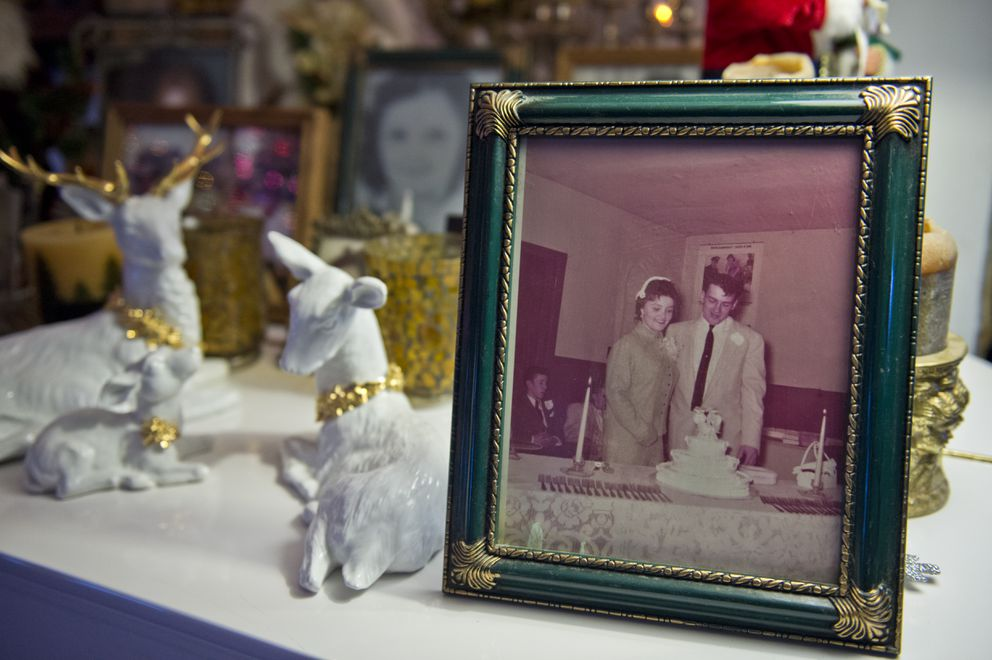A photo at Jerry Smith and Kristie Hocking's home shows their marriage in 1958. (Marc Lester / Alaska Dispatch News)