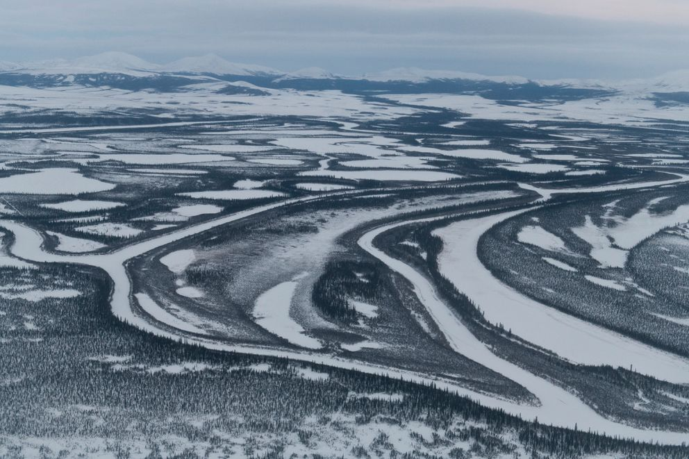 Snow and ice cover the water and tundra near Noorvik on December 2, 2018. (Marc Lester / ADN)