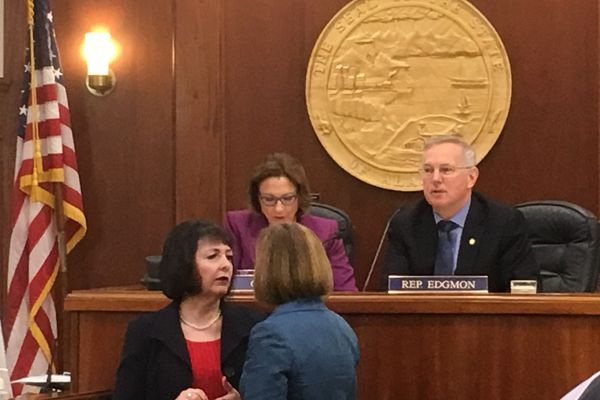 Senate President Cathy Giessel, R-Anchorage, and Speaker of the House Bryce Edgmon, I-Dillingham, supervise the joint session of the Alaska Legislature on Wednesday, April 17, 2019. Below the rostrum are Sen. Shelley Hughes, R-Palmer, and Sen. Mia Costello, R-Anchorage. (James Brooks / ADN)