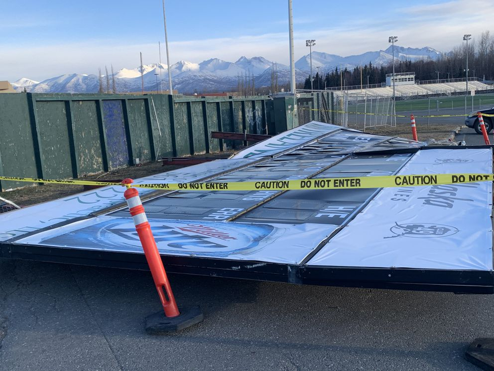 The scoreboard at Mulcahy Baseball Stadium is shown Monday after being blown over by strong winds in the last 24 hours. (Photo by Chris Bieri)
