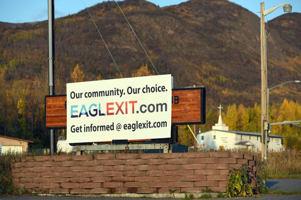 A sign touting the Eaglexit detachment effort outside the Eagle River Lions Club on Oct. 3, 2019. (Matt Tunseth / Chugiak-Eagle River Star)