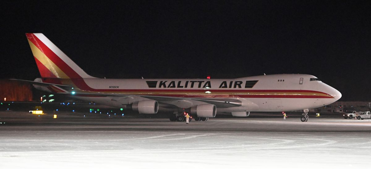 A Kalitta Air Boeing 747 at the north terminal at Ted Stevens Anchorage International Airport on Tuesday evening. (Bill Roth / ADN)