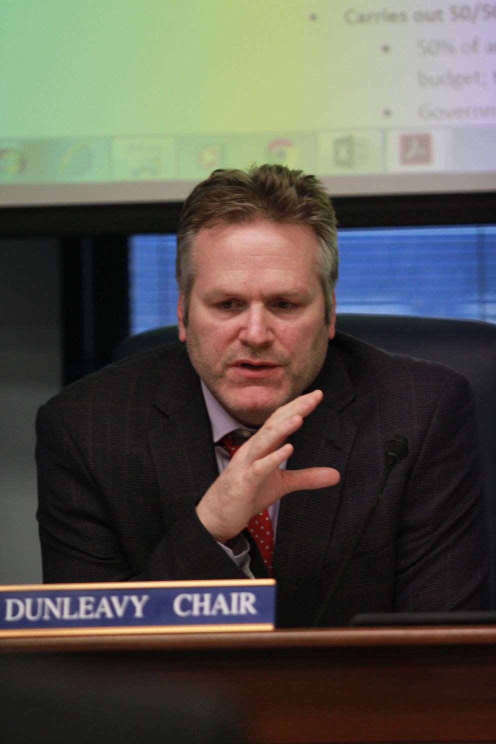 Wasilla Republican Sen. Mike Dunleavy presents his proposal to restructure the Alaska Permanent Fund at a meeting of the Senate State Affairs Committee on Thursday. (Nathaniel Herz / Alaska Dispatch News)