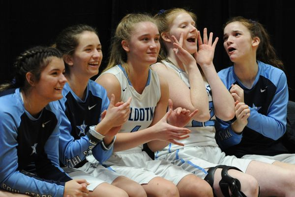 The Soldotna Stars bench cheer during their 54-50 first-round victory over the West High Eagles during the Girls 4A state basketball championships at the Alaska Airlines Center on Thursday, March 20, 2019. (Bill Roth / ADN)