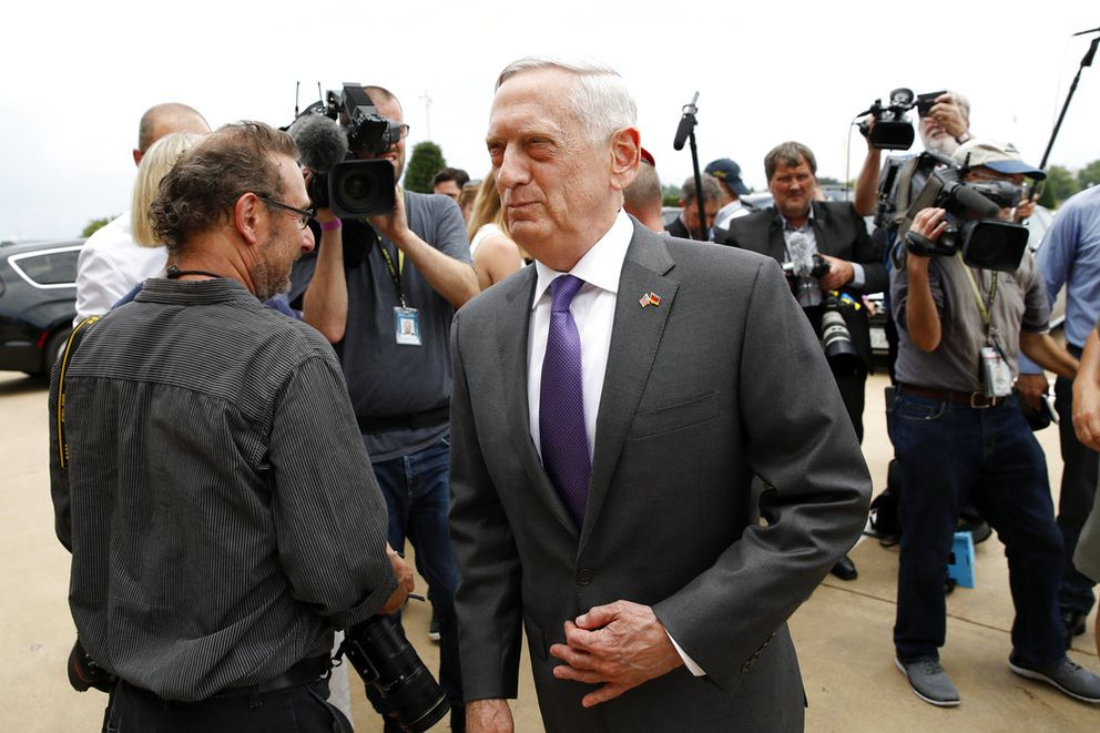 FILE - In this Wednesday, June 20, 2018, file photo, U.S. Defense Secretary Jim Mattis steps away after speaking with the media at the Pentagon, in Washington. Speaking to reporters on his plane en route to a stop in Alaska, Sunday, June 24, Mattis laid out plans for a less contentious, more open dialogue with Chinese leaders as he travels to Asia, less than a month after he slammed Beijing at an international conference for its militarization of islands in the South China Sea. (AP Photo/Alex Brandon, File)