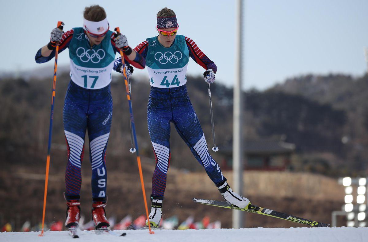 American skiers Elizabeth Stephen, left, and Sadie Bjornsen compete. REUTERS/Carlos Barria