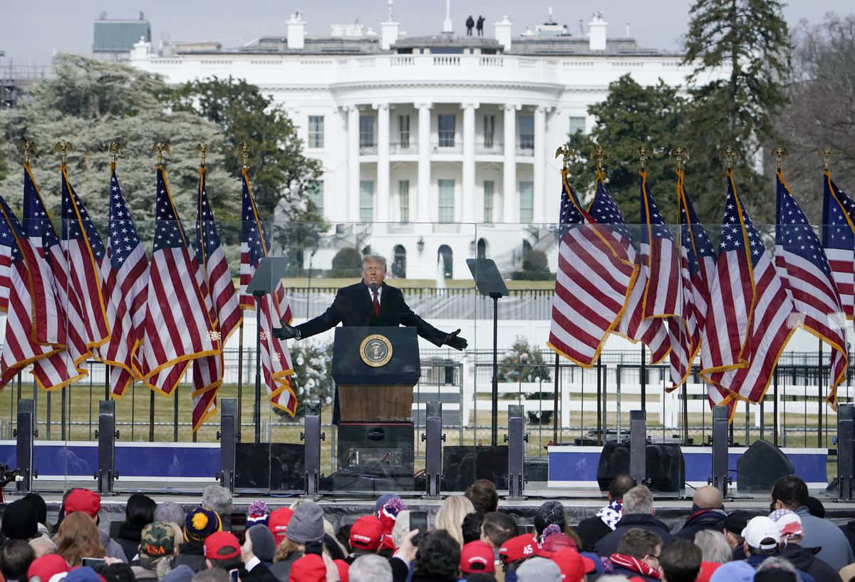 President Donald Trump speaks at a Jan. 6 rally in Washington before the Capitol invasion. (AP Photo/Jacquelyn Martin, File)
