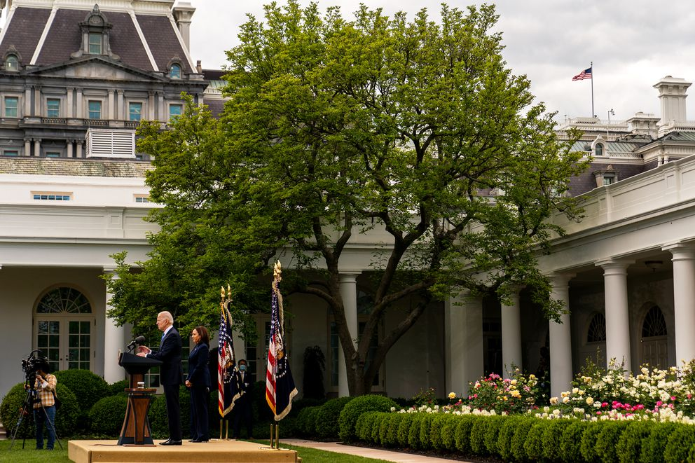 President Biden and Vice President Harris during a covid-19 update in the Rose Garden at the White House on May 13, 2021. (Washington Post photo by Demetrius Freeman.)