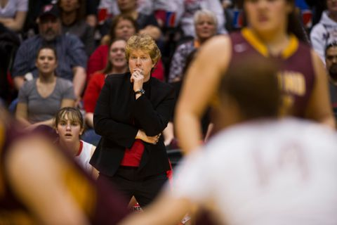 Wasilla coach Jeannie Hebert-Truax watches her squad play. Dimond faced Wasilla in the girls 4A State championship basketball game at the Alaska Airlines Center on Saturday, March 25, 2017. (Marc Lester / Alaska Dispatch News)
