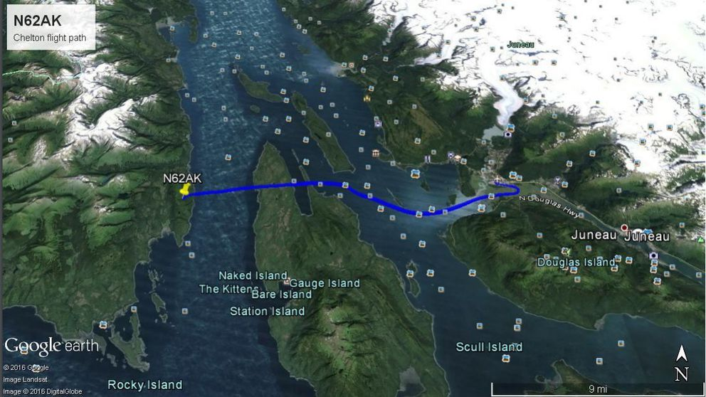The path of a Wings of Alaska Cessna 207 before its fatal crash on July 17, 2015, based on data from the aircraft's Chelton navigational display units. (From NTSB)