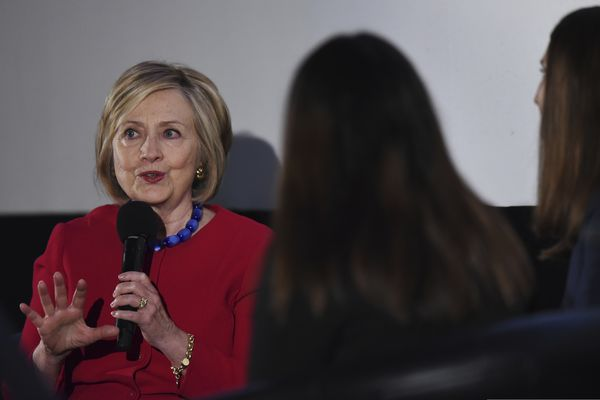 Former Secretary of State Hillary Clinton answers a question posed by student journalists during the Trailblazing Women of Park Ridge event in Park Ridge, Ill., Friday, Oct. 11, 2019. (Joe Lewnard/Daily Herald via AP)