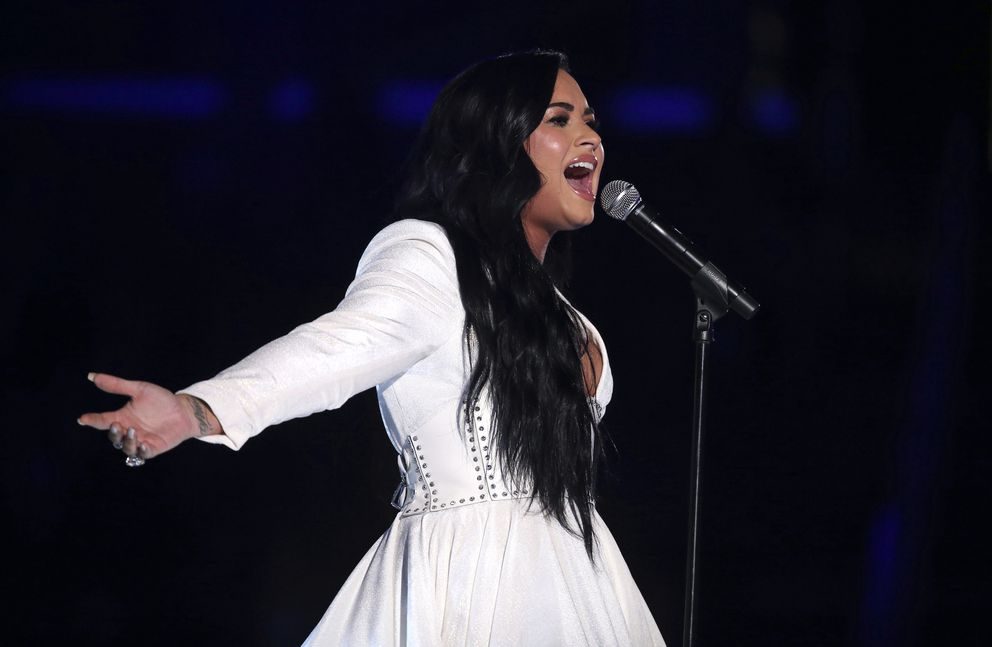 Demi Lovato performs 'Anyone ' at the 62nd annual Grammy Awards on Sunday, Jan. 26, 2020, in Los Angeles. (Photo by Matt Sayles/Invision/AP)