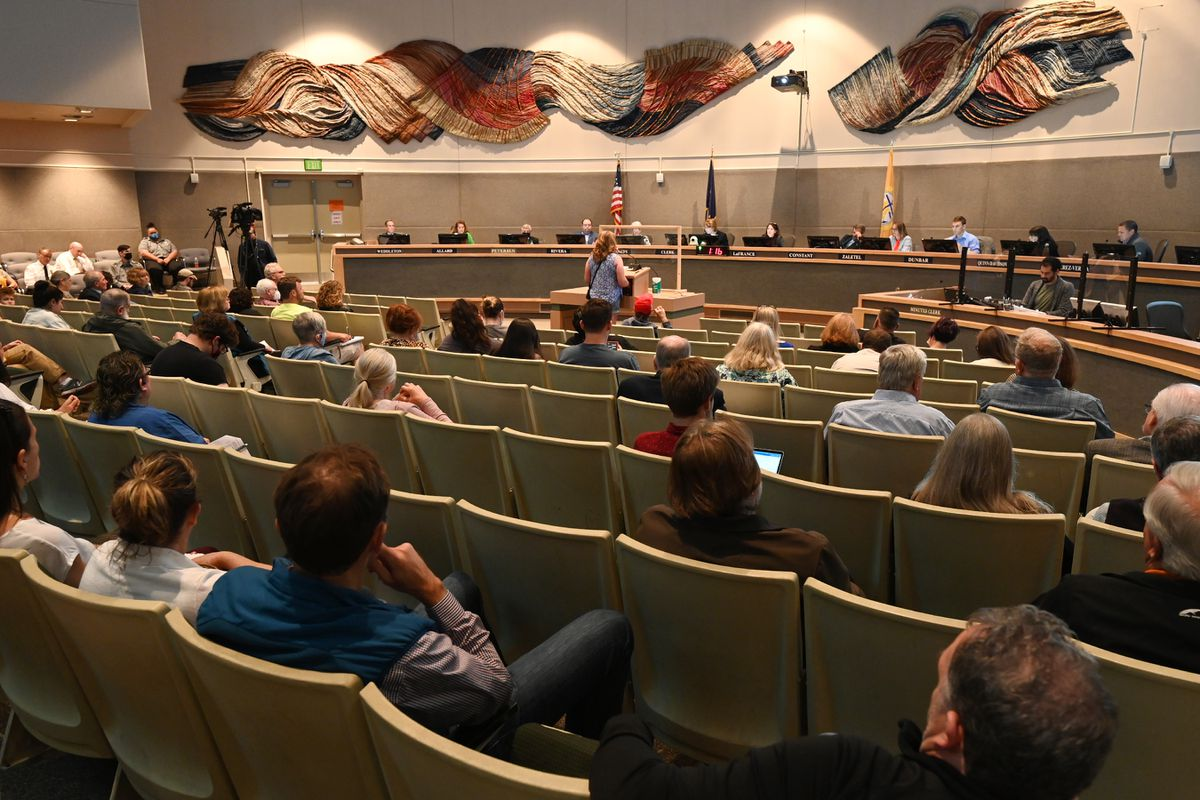 The full Anchorage Assembly listens to initial public testimony during the assembly meeting on Tuesday, July 13, 2021. (Bill Roth / ADN)