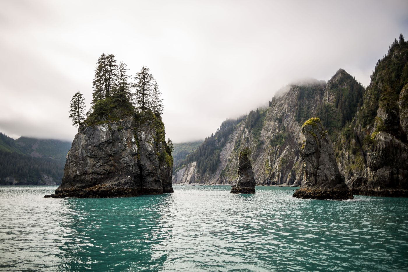 Towers of rock jut out of Resurrection Bay in Kenai Fjords National Park. (Loren Holmes / Alaska Dispatch News)