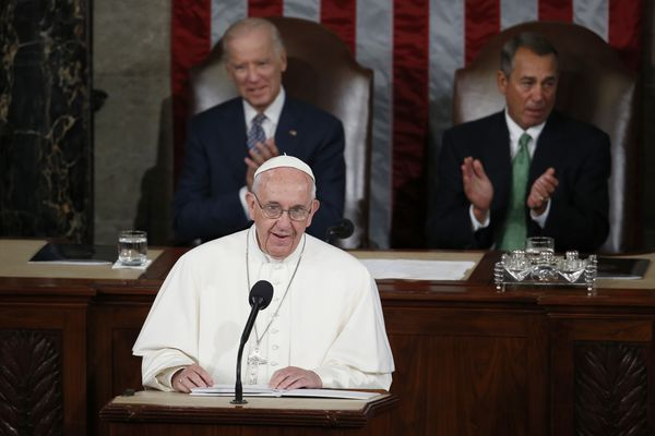 Pope Francis addresses a joint meeting of Congress on Capitol Hill in Washington on Thursday.