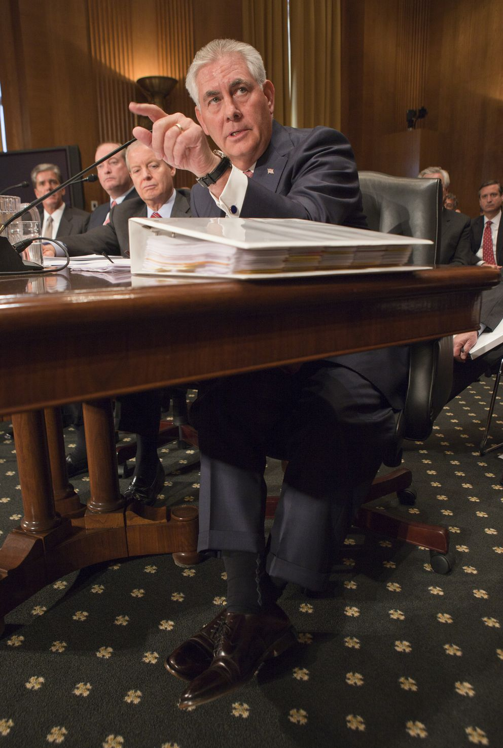 Rex Tillerson, the chief executive of Exxon Mobil, testifies on Capitol Hill in Washington, May 12, 2011. (Stephen Crowley/The New York Times)