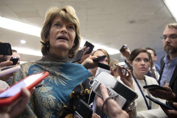 Sen. Lisa Murkowski, R-Alaska, speaks to the media after leaving the Senate chamber, on Capitol Hill in Washington, Monday, Feb. 3, 2020. (AP Photo/Jacquelyn Martin)