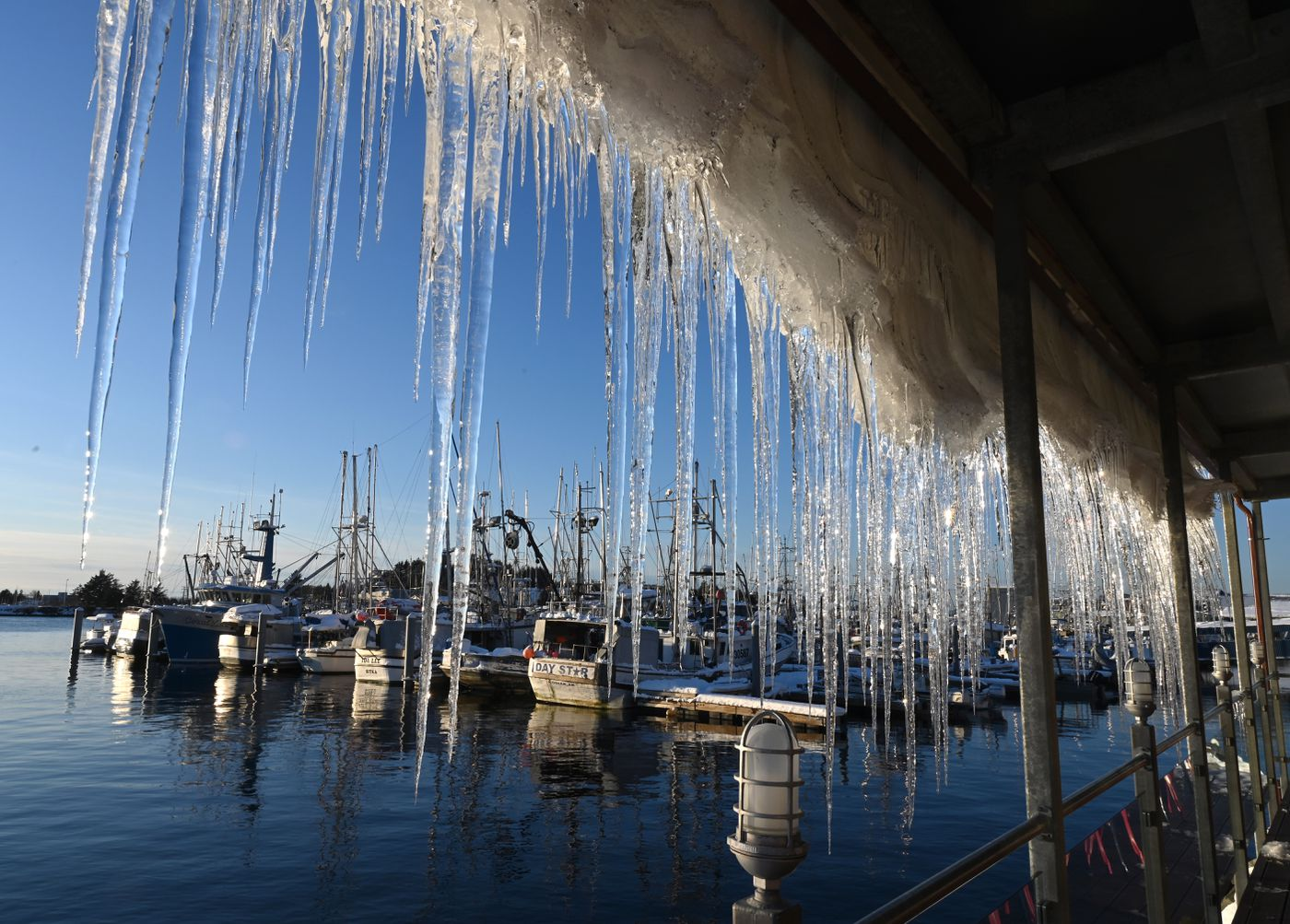 JANUARY 12. A curtain of icicles develops on the deck roof of Mean Queen at Totem Square as the blanket of snow slowly melts and slides. The ANB Harbor, one of Sitka's five harbors, is in the background. (Anne Raup / ADN)