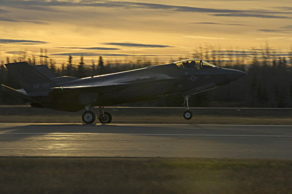 A U.S. Air Force F-35A Lightning II fighter aircraft lands on the flight line Oct. 12, 2017, at Eielson Air Force Base, Alaska. (Eric M. Fisher / U.S. Air Force)