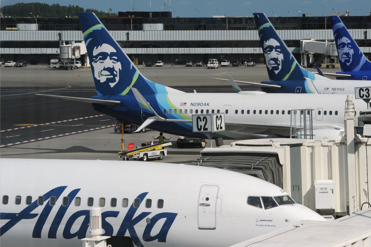 Alaska Airlines passenger jets parked at Ted Stevens Anchorage International Airport on Monday, June 22, 2020. (Bill Roth / ADN)