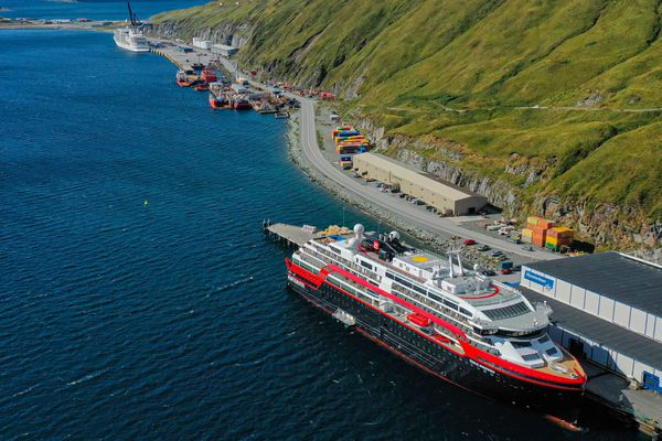 The Hurtigruten's Roald Amundsen cruise ship at dock in Unalaska, Sept. 15, 2019. (Andy Dietrick / Aleutian Aerial)