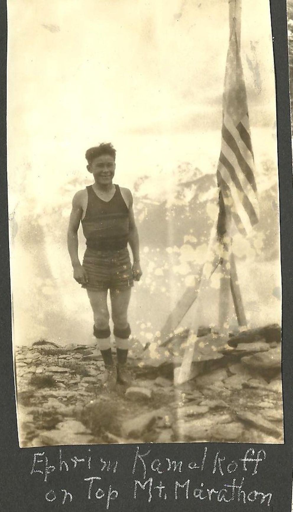 Ephraim Kalmakoff at Race Point on Mount Marathon, circa 1930. The photo is from the scrapbook of Edith Neese, a teacher at Seward's Jesse Lee Home from 1930-34. (Doug Capra collection)