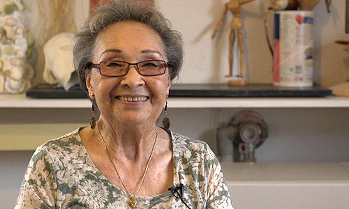 Sculptor and weaver Gertrude Svarny of Unalaska won The 2017 Distinguished Artist Award. (Photo courtesy Rasmuson Foundation)