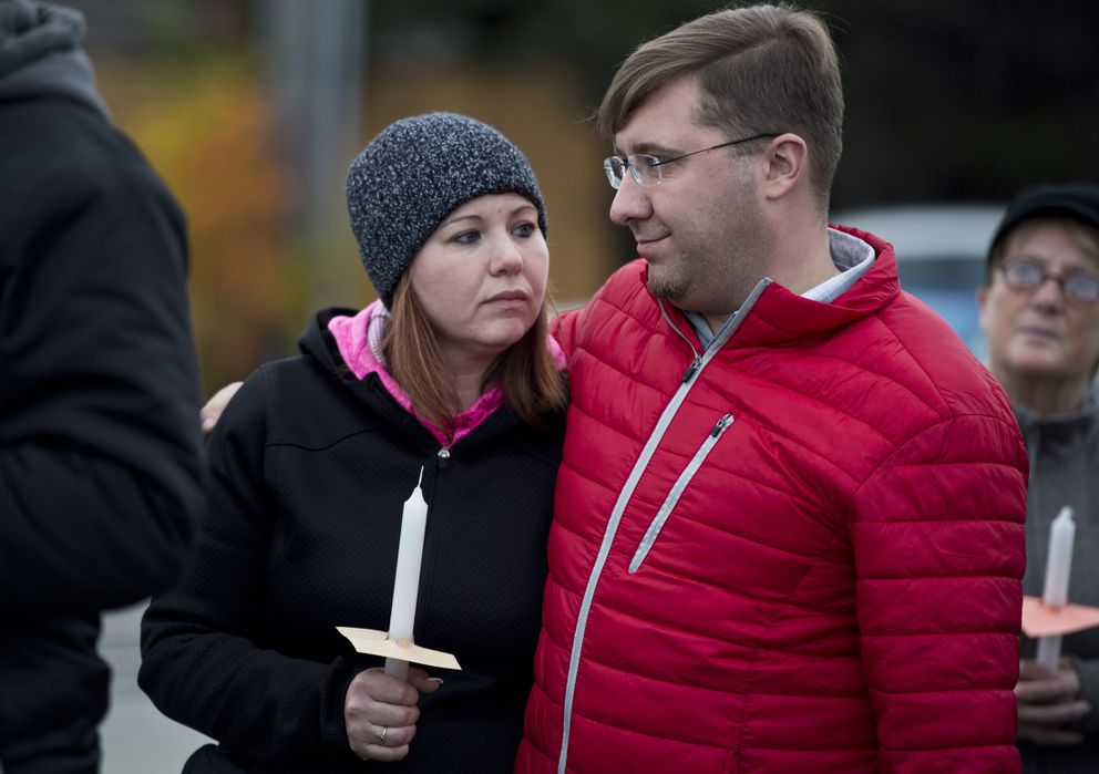Michelle Victory and Michael Fox attend the vigil Thursday. (Marc Lester / Alaska Dispatch News)