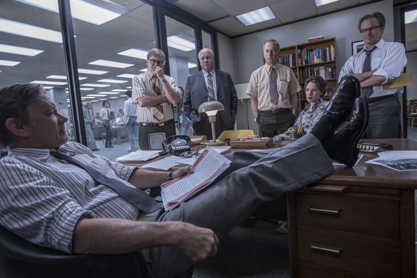 From left, Tom Hanks (Ben Bradlee), David Cross (Howard Simons), John Rue (Gene Patterson), Bob Odenkirk (Ben Bagdikian), Jessie Mueller (Judith Martin), and Philip Casnoff (Chalmers Roberts) in a scene from the movie