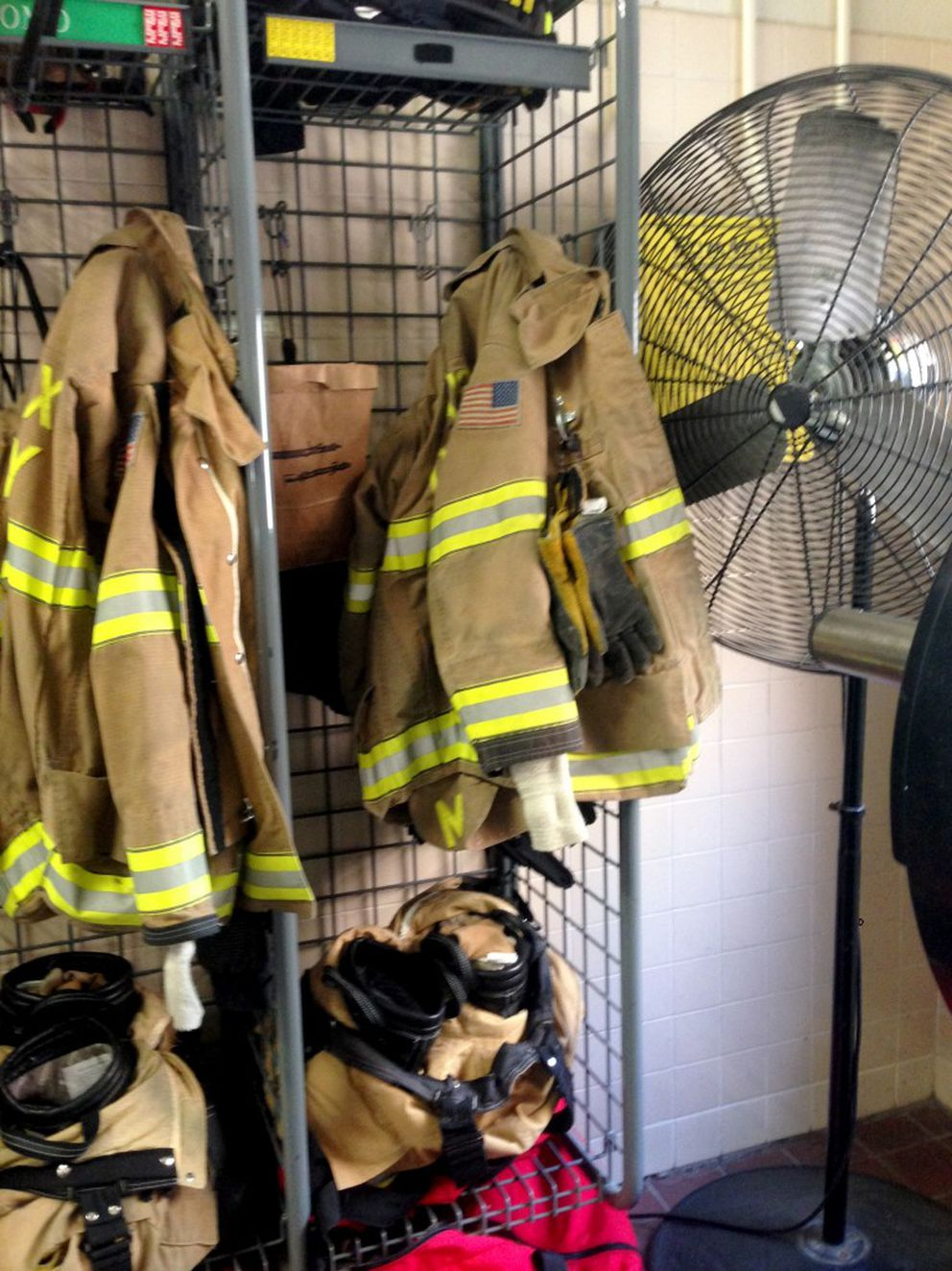 Nicole K. Mittendorff's locker at Fairfax County Fire Station No. 32 in Fairfax Station, Virginia. (Washington Post photo by Justin Jouvenal)