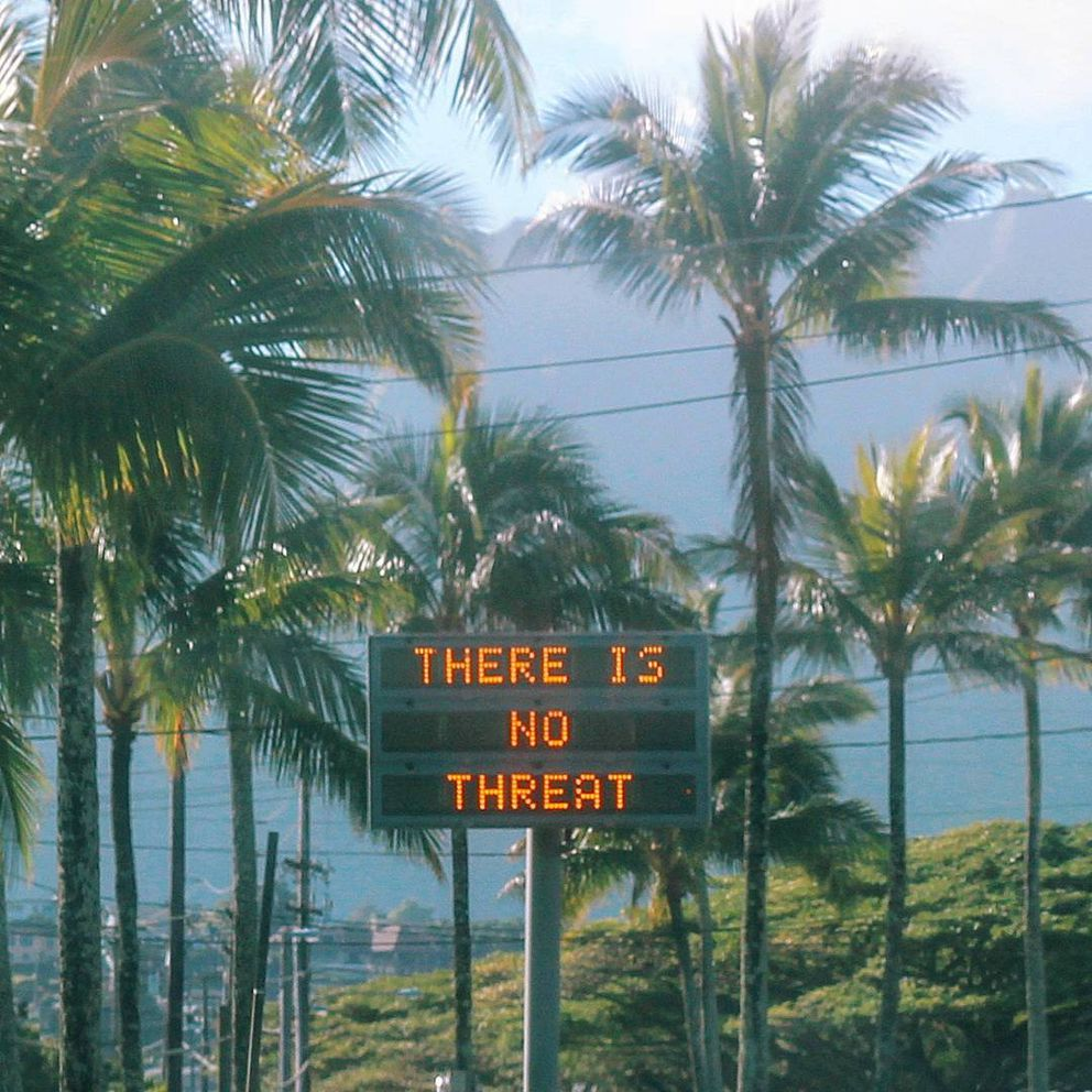 Information related to a false emergency alert is displayed in Oahu on January 13, 2018. (Instagram user @sighpoutshrug via REUTERS)