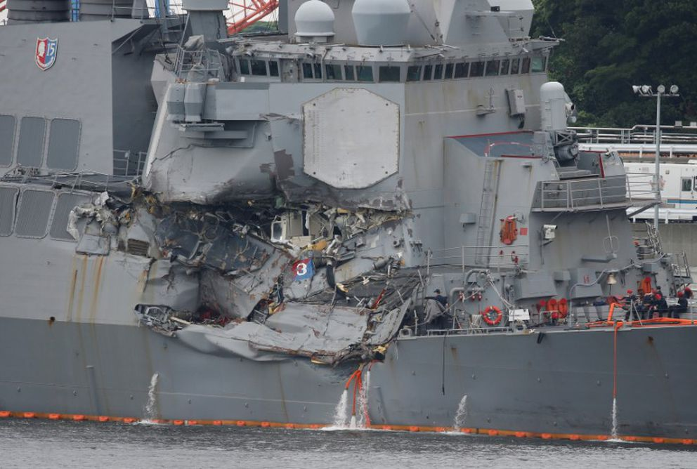 The Arleigh Burke-class guided-missile destroyer USS Fitzgerald, damaged by colliding with a Philippine-flagged merchant vessel, is seen at the U.S. naval base in Yokosuka,, Japan, June 18, 2017. REUTERS/Toru Hanai