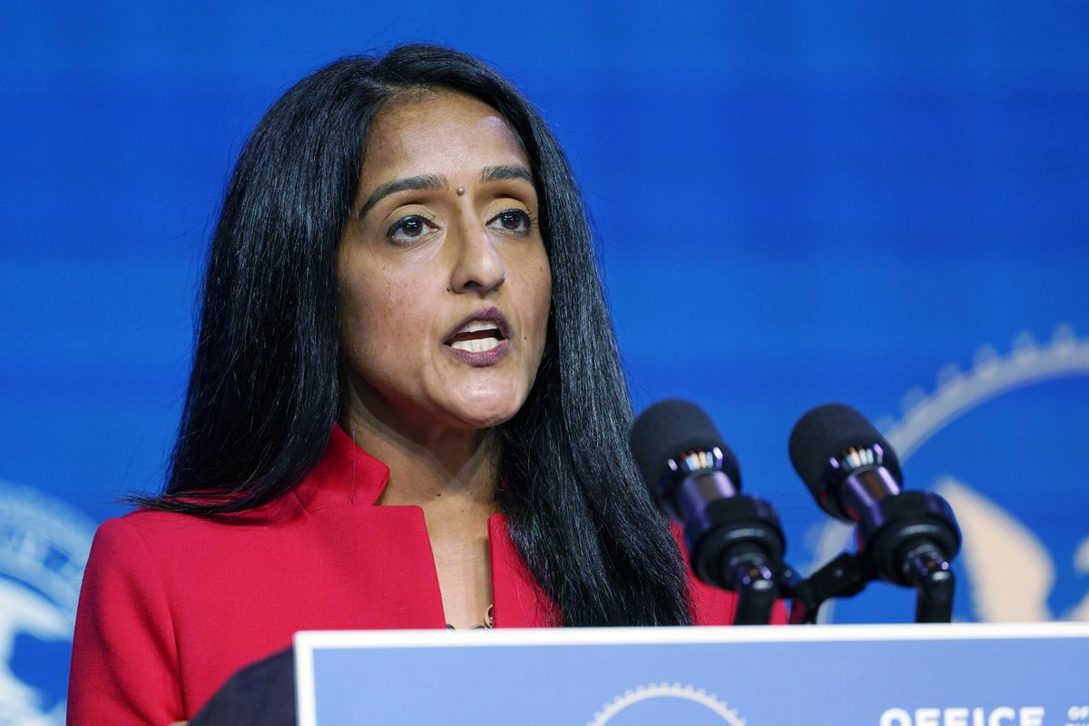 In this Jan. 7, 2021, file photo, Associate Attorney General nominee Vanita Gupta speaks during an event with President-elect Joe Biden and Vice President-elect Kamala Harris at The Queen theater in Wilmington, Del. (Susan Walsh / AP File)