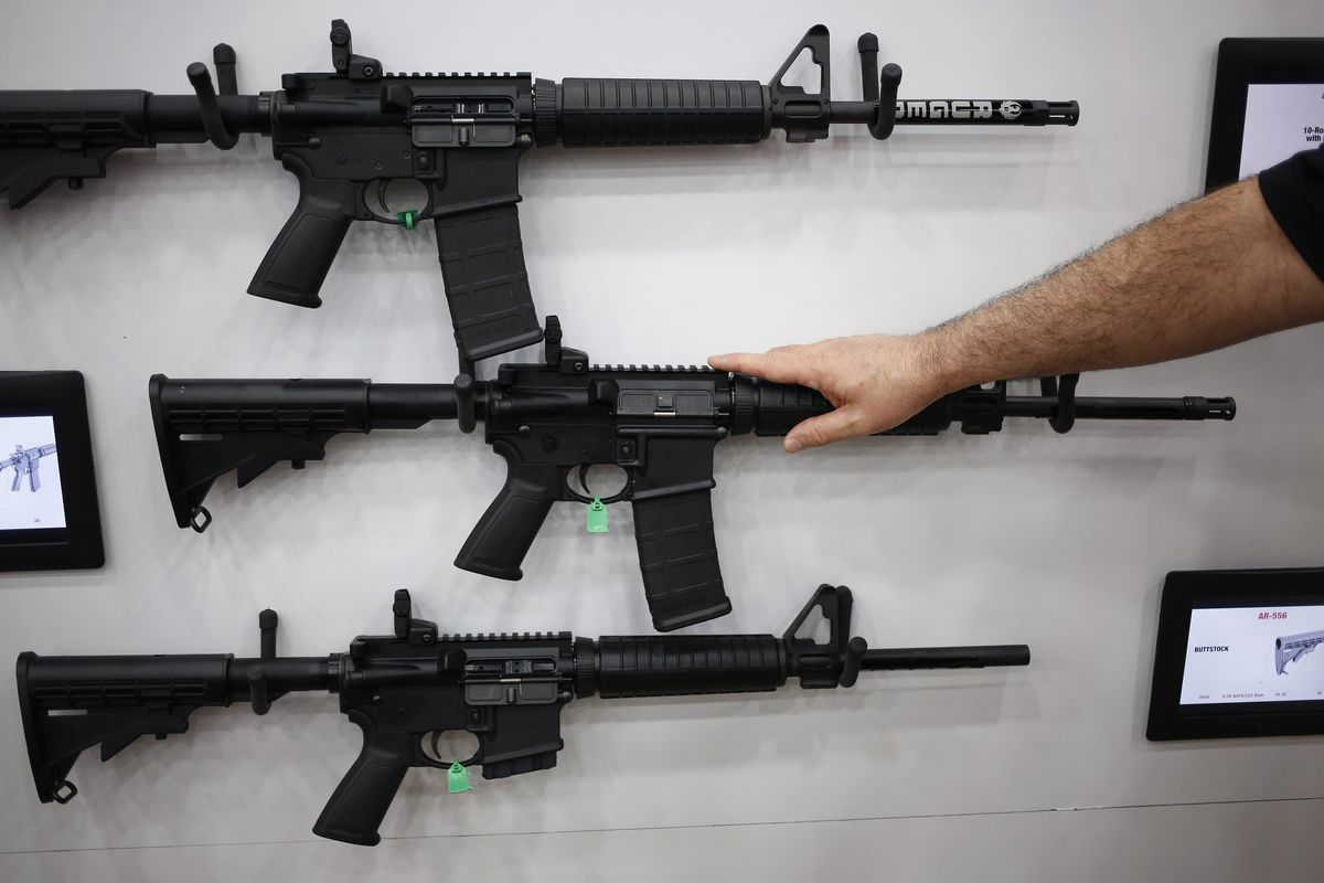 AR-15 rifles and their cousins are among the nation's most popular and profitable weapons. The AR-15 fires one bullet with each pull of the trigger – thus, semiautomatic – but it is easily modified to shoot continuously until the trigger is released. Bloomberg photo by Luke Sharrett