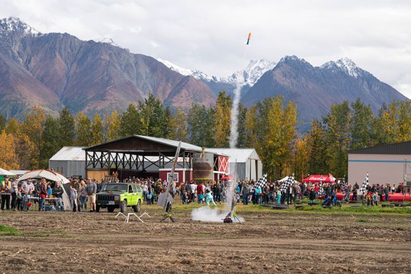 The Alaska Northstars Rocketry Club launches a rocket at Pyrah's Pioneer Peak Farm on Saturday, Sept. 19, 2020 during the Pyrah's fall harvest festival. The event will repeat on Saturday, Sept. 26. (Loren Holmes / ADN)