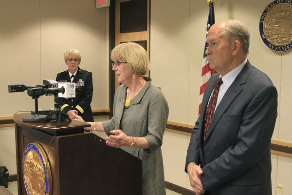 Pictured: Retired Alaska Superior Court Judge Patricia Collins, center, who investigated allegations of sexual abuse and misconduct within the Alaska National Guard, speaks at a news conference on her report as Guard Brig. Gen. Laurie Hummel and Alaska Gov. Bill Walker listen on Monday, June 15, 2015, in Anchorage, Alaska.